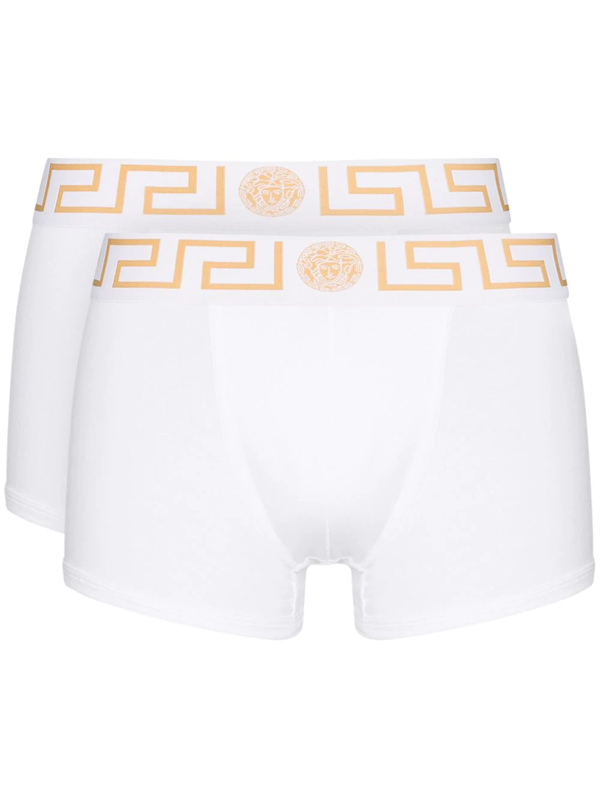 Versace Pack Of Two Logo-jacquard Boxer Briefs In White