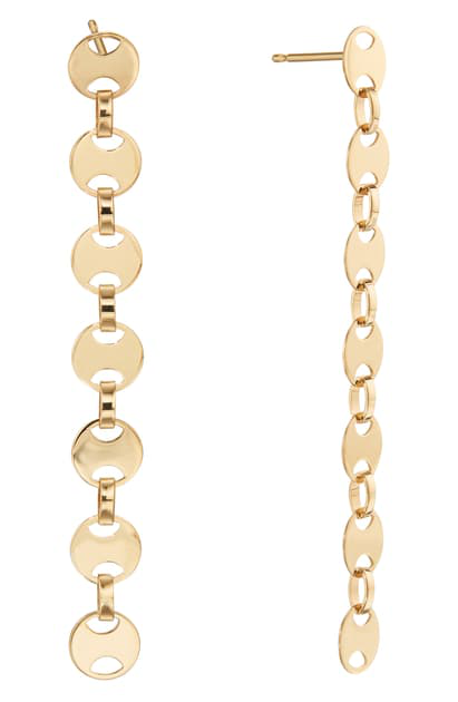 Lana Small Rodeo Chain Linear Earrings In Yellow Gold