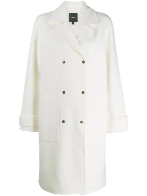 Theory Double Breasted Coat In C05 Ivory