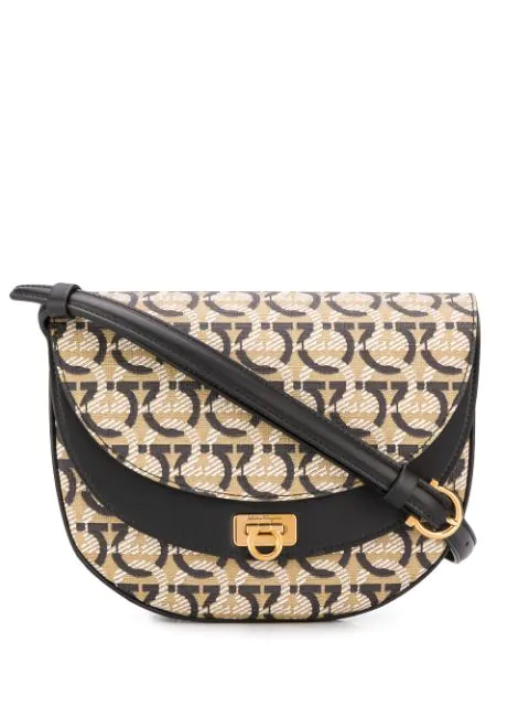 Salvatore Ferragamo Gancini Jacquard Saddle Crossbody In Neutrals