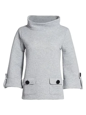 Joan Vass Women's Ottoman Ribbed Funnel-neck Pullover In Grey Heather
