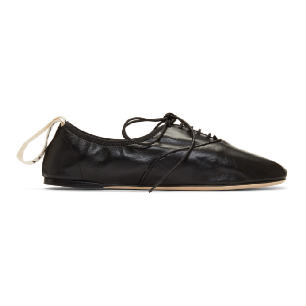 Loewe Logo-print Lace-up Leather Ballet Flats In 1100 Black