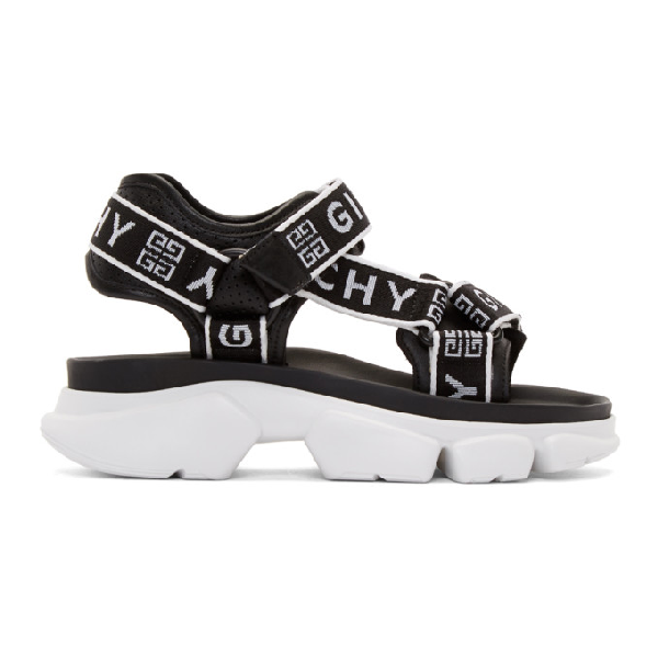Givenchy Jaw Logo-jacquard And Perforated Faux Leather Platform Sandals In 004   Black