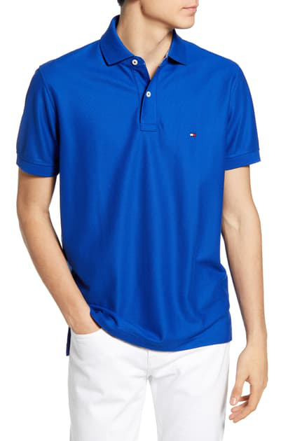 Tommy Hilfiger Logo-embroidered Regular-fit Cotton-piquÉ Polo Shirt In Blue