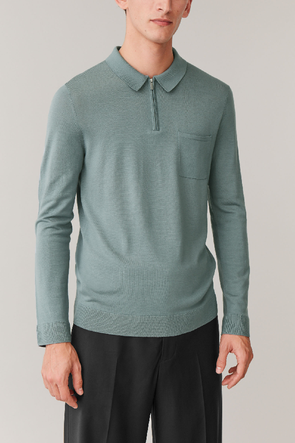Cos Merino Polo Shirt With Zip In Turquoise