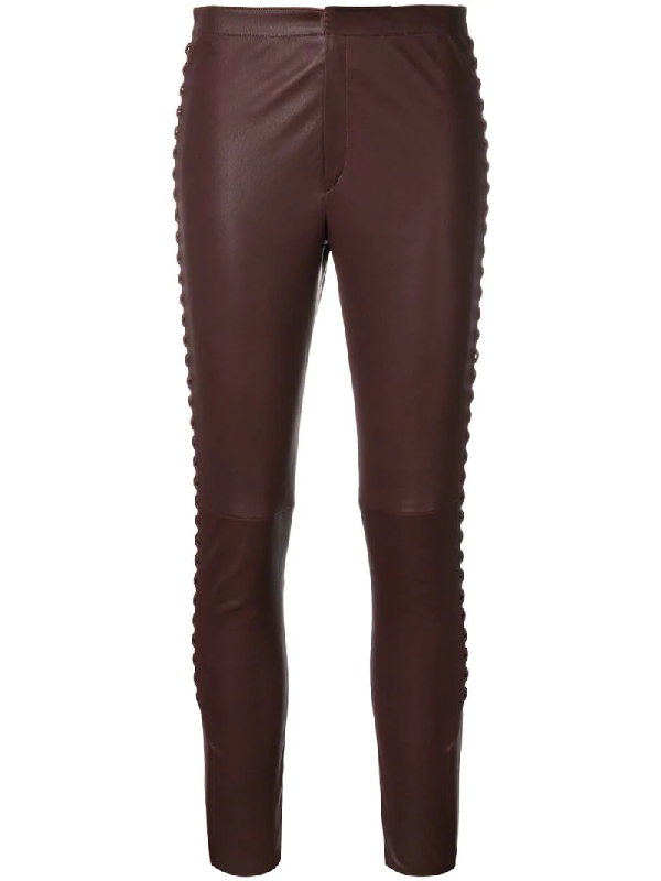Isabel Marant Janet Fringed Leather Trousers In Red
