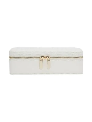 Wolf Maria Rectangle Quilted Zip Leather Jewelry Case In White