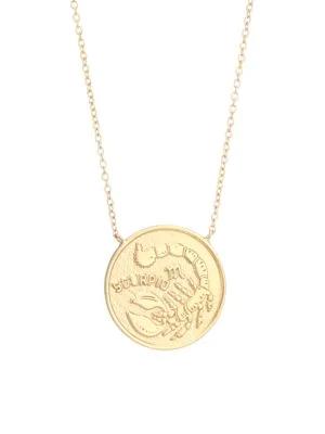 Jennifer Zeuner Jewelry Women's Sylas 14k Gold Vermeil Scorpio Medallion Necklace In Yellow Goldtone