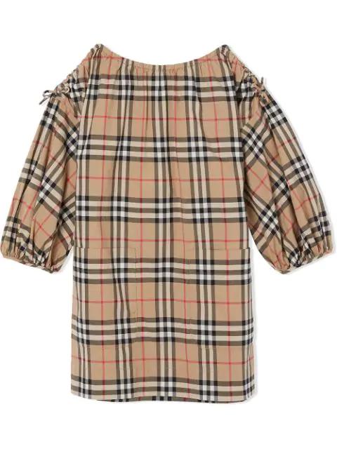 Burberry Kids' Vintage Check Cotton Dress In Neutrals