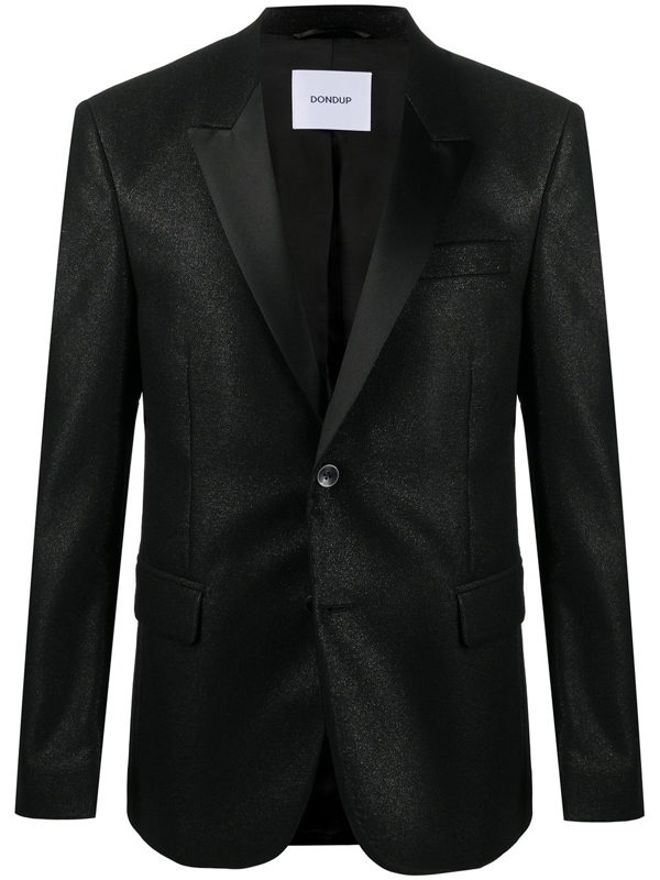 Dondup Black Single-breasted Blazer With Satin Lapels