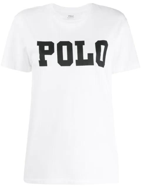 Polo Ralph Lauren Embellished Logo Short-sleeve Cotton T-shirt In White
