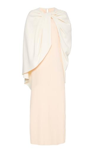 Marina Moscone Exclusive Draped Cape-effect Satin Dress In Orange