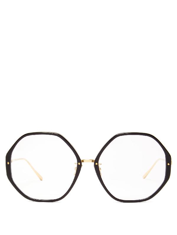 Linda Farrow Alona C10 Oversized Acetate Glasses In Gold