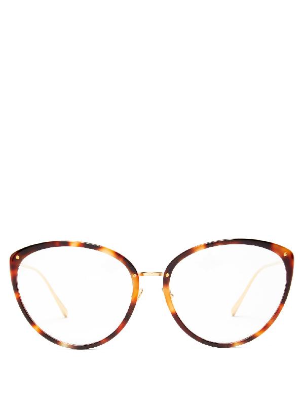 Linda Farrow Angelica Cat-eye Tortoiseshell-acetate Glasses In Brown