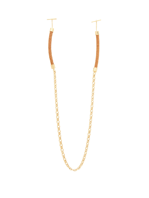ChloÉ Corded Leather Glasses Chain In Gold