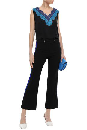 Emilio Pucci Velvet-trimmed Striped Stretch-wool Crepe Kick-flare Pants In Black