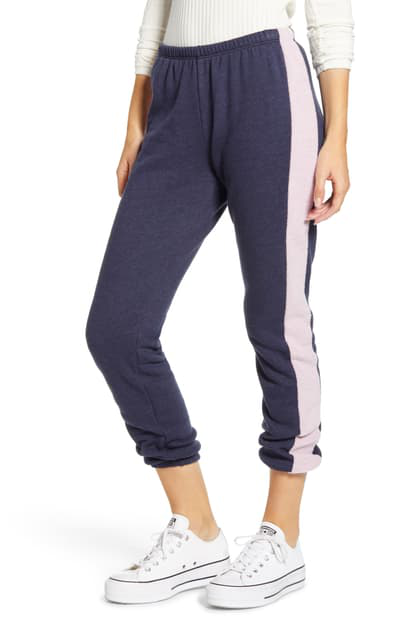 Wildfox Knox Contrast-trim Track Pants In Oxford/ Mauve Shadow