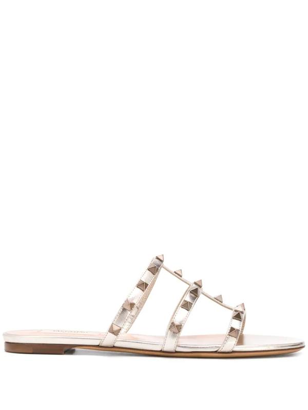 Valentino Garavani Rockstud T-strap Sandals In Gold