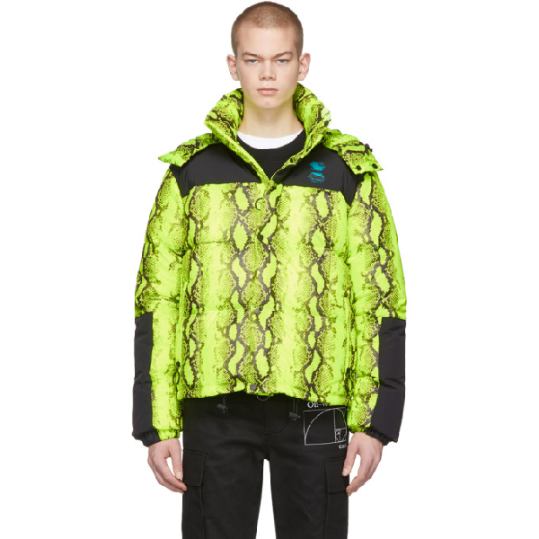 Off-white Neon Yellow Snake Print Puffer Jacket In Fluo Yellow