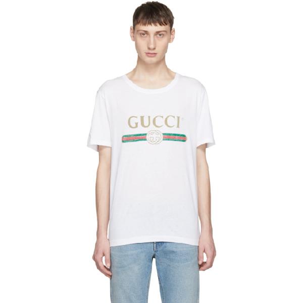 Gucci Vintage Logo Print Cotton Jersey T-shirt In 9045 White