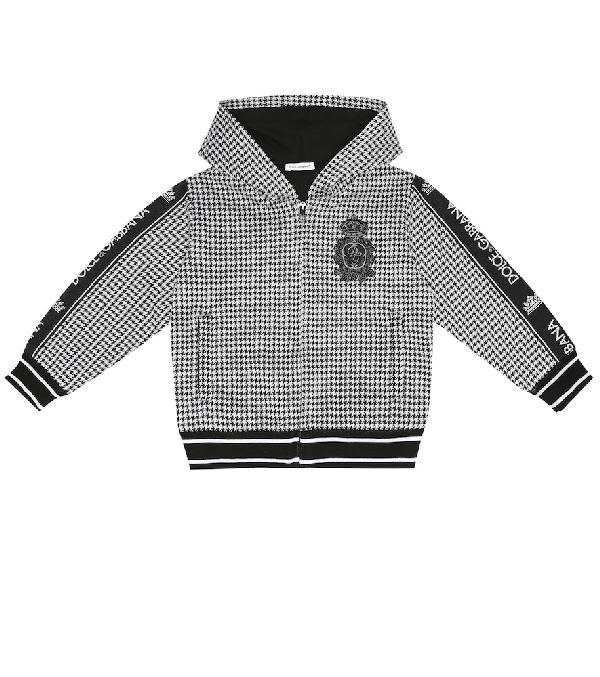 Dolce & Gabbana Kids' Houndstooth Knitted Zip Hoodie In Black