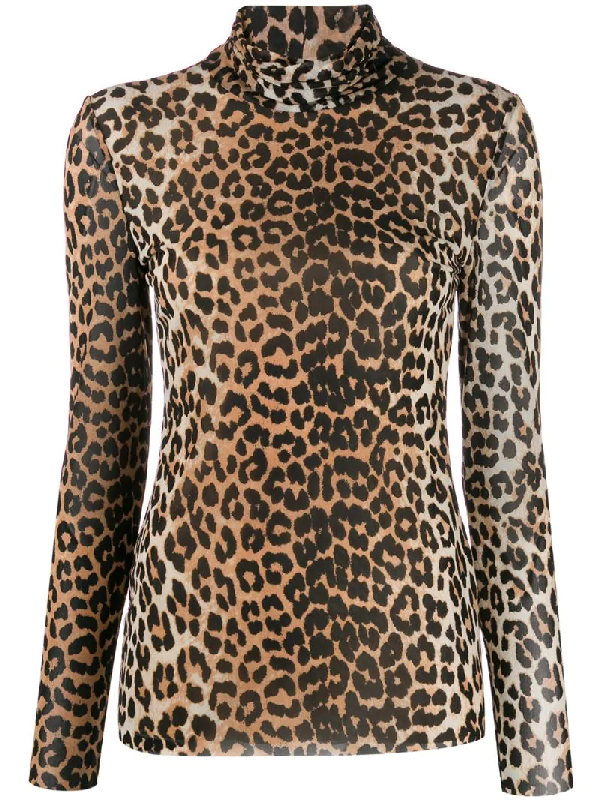 Ganni Printed Stretch-jersey Turtleneck Top In Brown