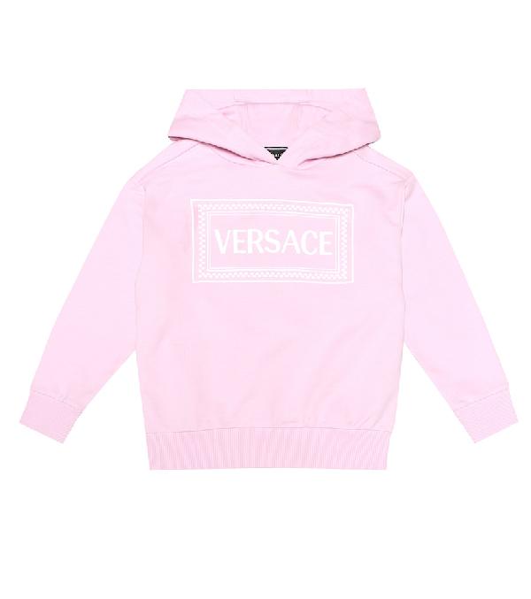 Versace Kids' Cotton '90S Vintage Logohoodie In Pink