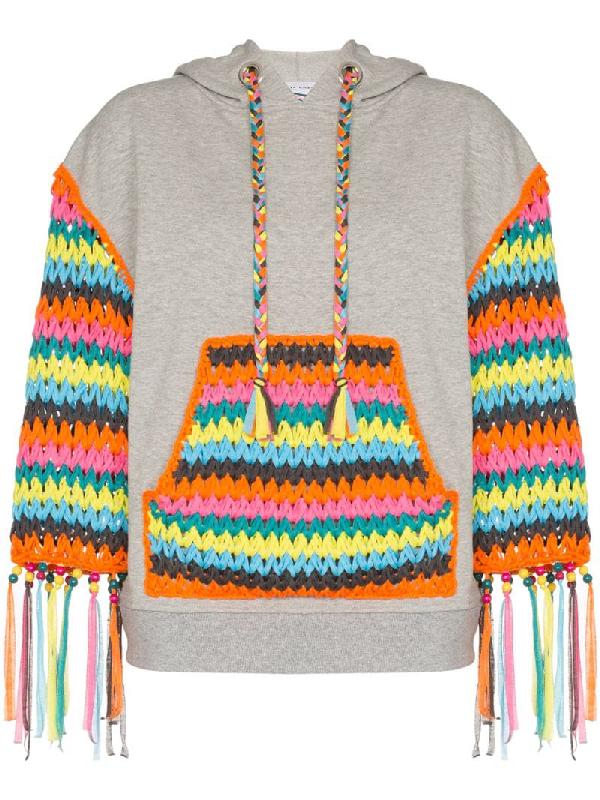 Mira Mikati Crochet Panelled Hoodie In Grey