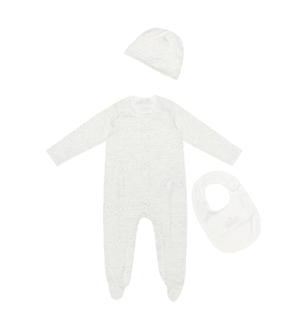 Dolce & Gabbana Baby Printed Cotton Playsuit, Bib And Hat Set In White