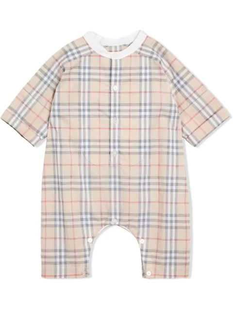 Burberry Babies' Check Cotton Playsuit In Neutrals