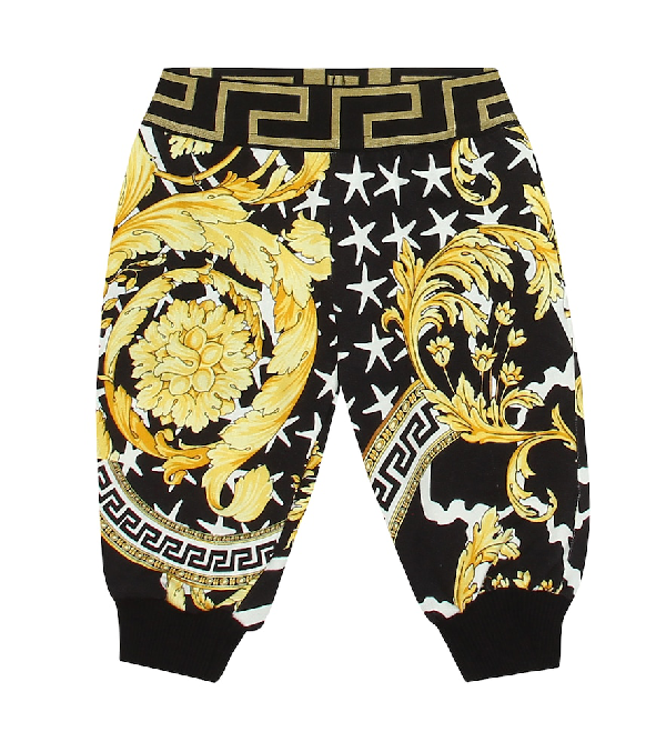 Versace Baby Printed Cotton Trackpants In Yellow
