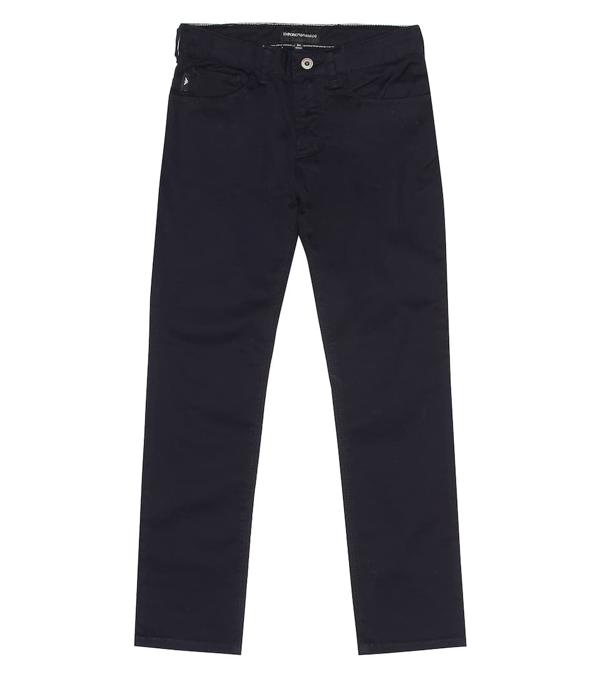 Emporio Armani Kids' Stretch Cotton Pants In Blue