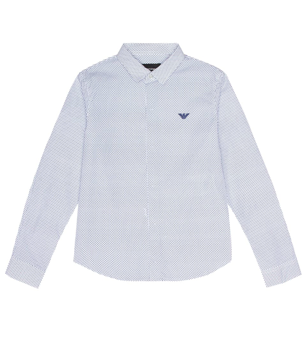 Emporio Armani Kids' Striped Shirt With Embroidery In White