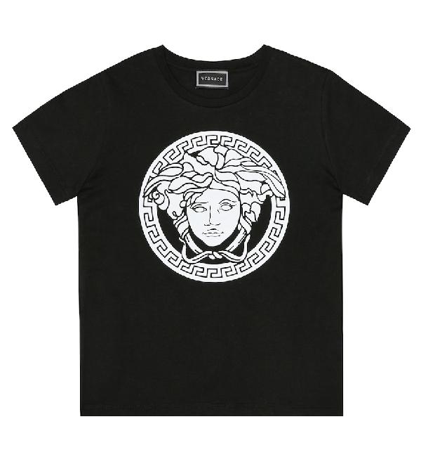 Versace Kids' Printed Cotton T-Shirt In Black