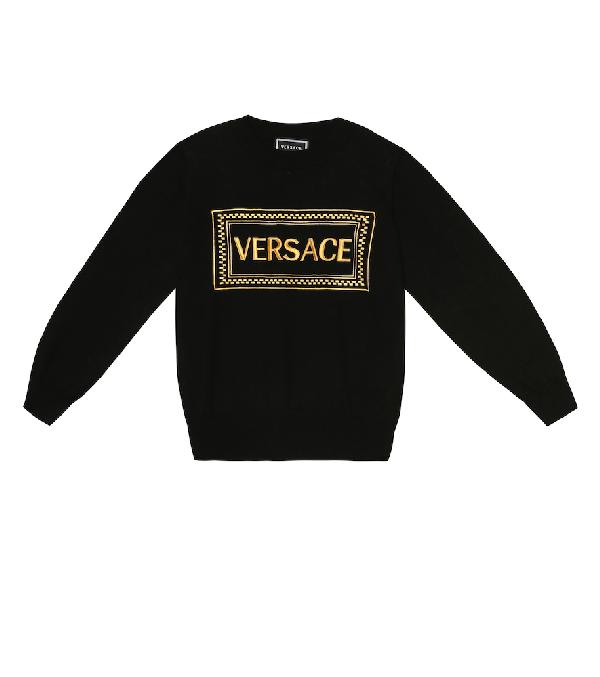 Versace Kids' Logo Cotton Sweatshirt In Black
