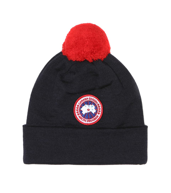 Canada Goose Kids Beanie Kids Merino Pom Toque For For Boys And For Girls In Blue