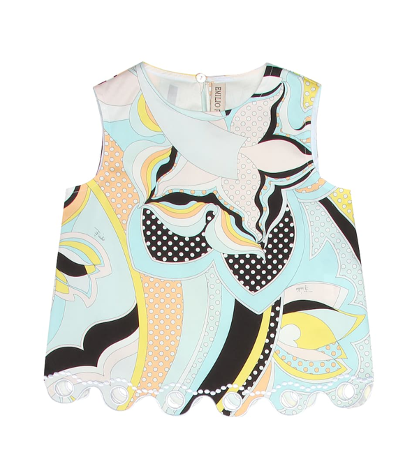 Emilio Pucci Kids' Light Blue Blouse For Girl With Colorful Iconic Print In Multicoloured