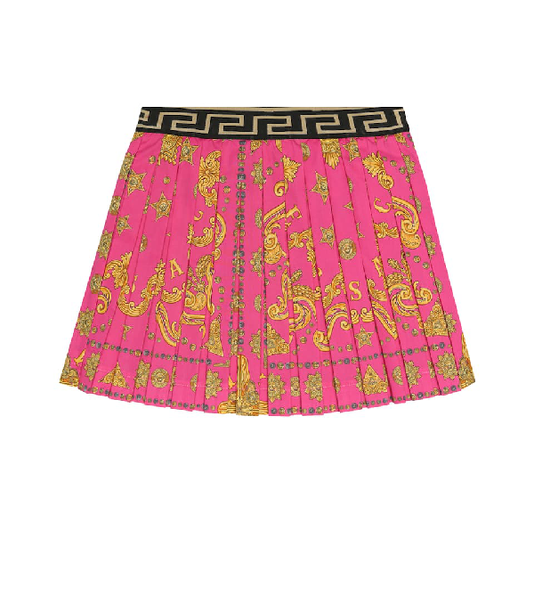 Versace Kids' Printed Stretch-cotton Skirt In Pink