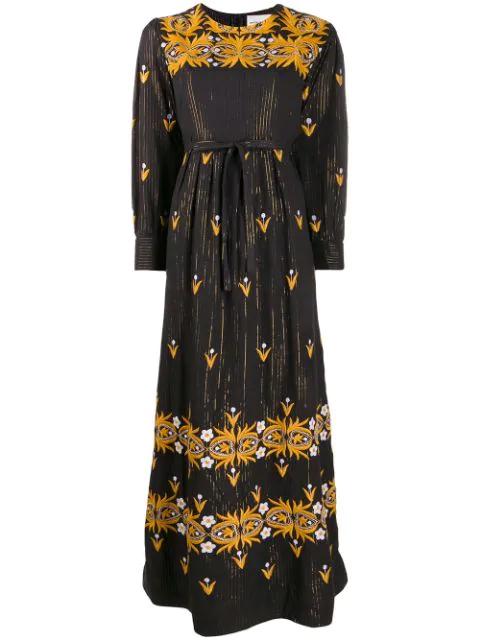 Antik Batik Mexi Pleated Metallic Embroidered Cotton Maxi Dress In Black