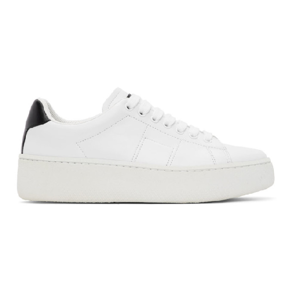 Maison Margiela Game Set Match Leather Sneakers In H7361 Whtbl