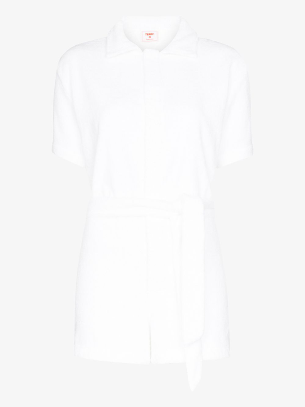 Terry Towelling Terry Belted Towelling Jumpsuit In White