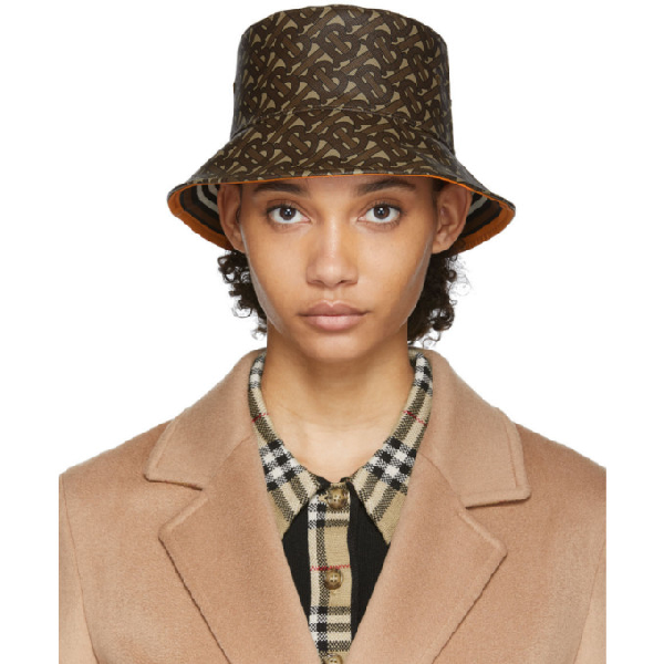 Burberry Logo-print Coated-cotton Bucket Hat In Bridle Brow