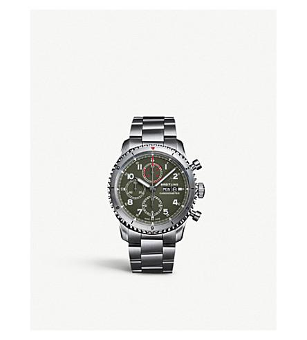 Breitling A133161a1l1a1 Aviator 8 Chronograph 43 Curtiss Warhawk Stainless-steel Watch In Green