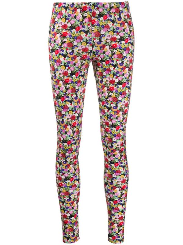 La Doublej Floral Print Leggings In Pink