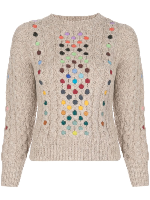 Rosie Assoulin Contrasting Cable-knit Jumper In Neutrals