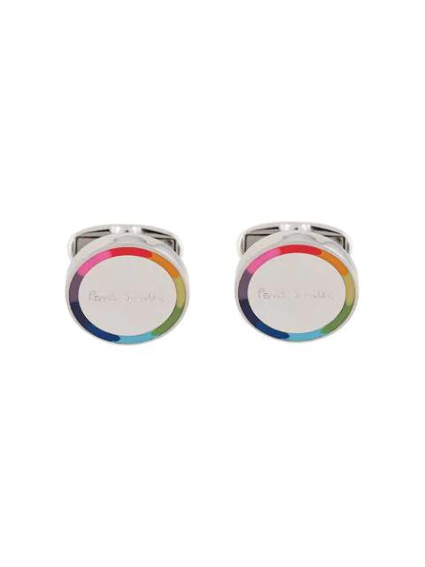 Paul Smith Circle Logo Cufflink In Silver In Metallic
