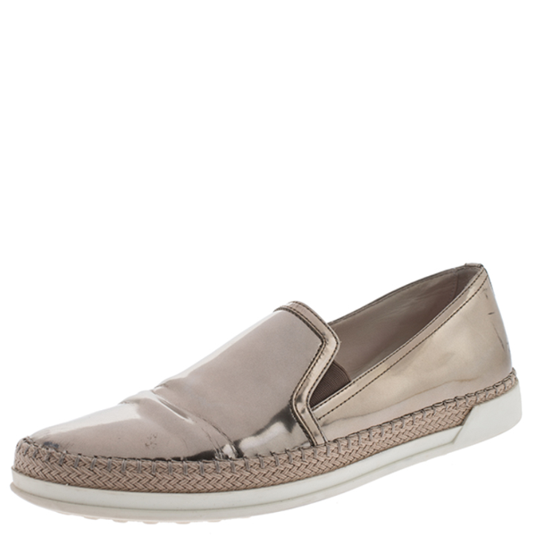Pre-owned Tod's Metallic Rose Gold Patent Leather Slip On Espadrilles Sneakers Size 37.5