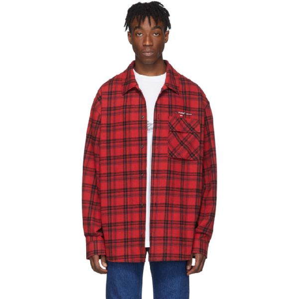 Off-white Red Men's Flannel Check Shirt In 红色