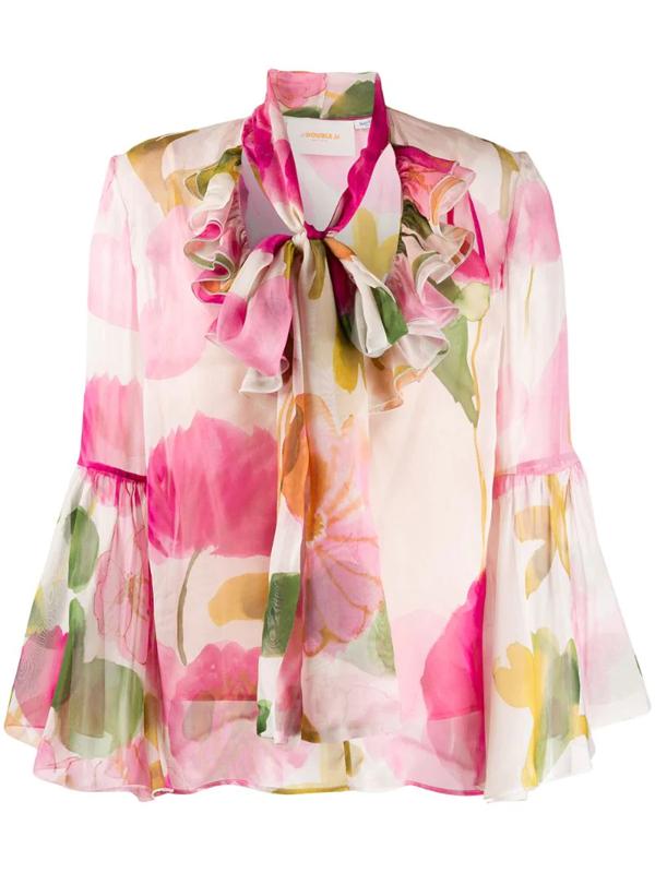 La Doublej Carmen Silk Shirt In Pink