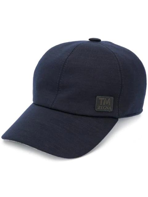 Ermenegildo Zegna Logo Patch Cap In Black